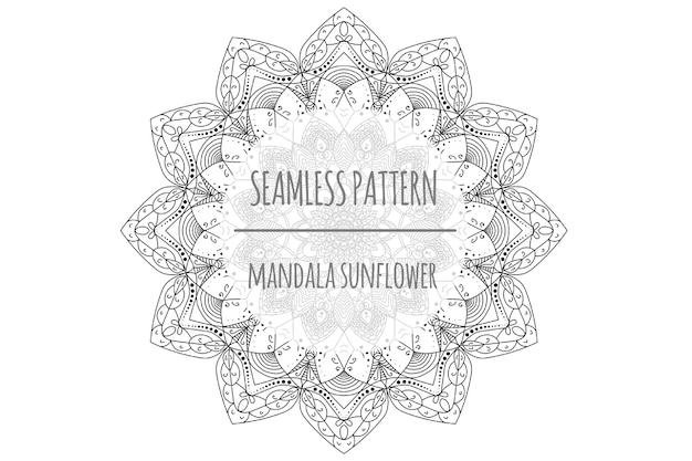 Mandala sunflower seamless patern