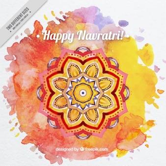 Mandala tło akwarela z happy navratri