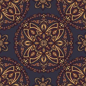 Mandala wektorowy bezszwowy deseniowy tło. ornament plemienny.