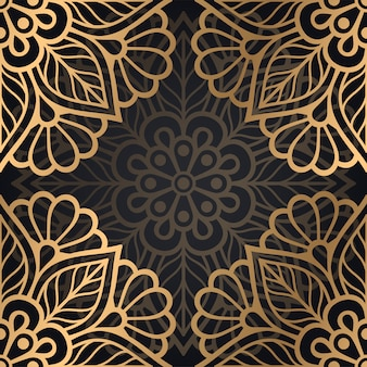 Mandala wzór tła w kolorze czarnym i złotym