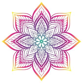 Mandala z kwiatowym elementem.