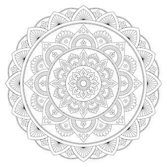 Mandala z tatuażem z henny. styl mehndi. ozdobny wzór w stylu orientalnym. książka do kolorowania.