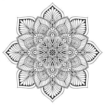 Mandale kolorowanka, kwiat kształt, terapia orientalna, loga joga wektor.