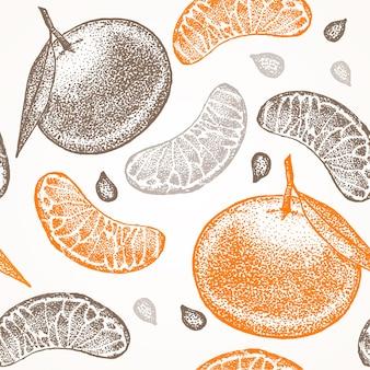 Mandarynka ręcznie rysować szkic tło wzór.