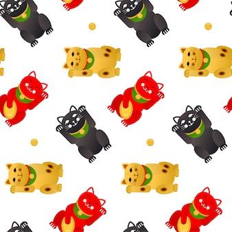 Maneki neko szczęśliwy kot. wzór