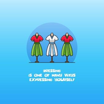 Manekin i sukienka wektor ikona