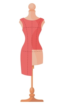 Manekin z niedokończoną sukienką z przerywaną linią