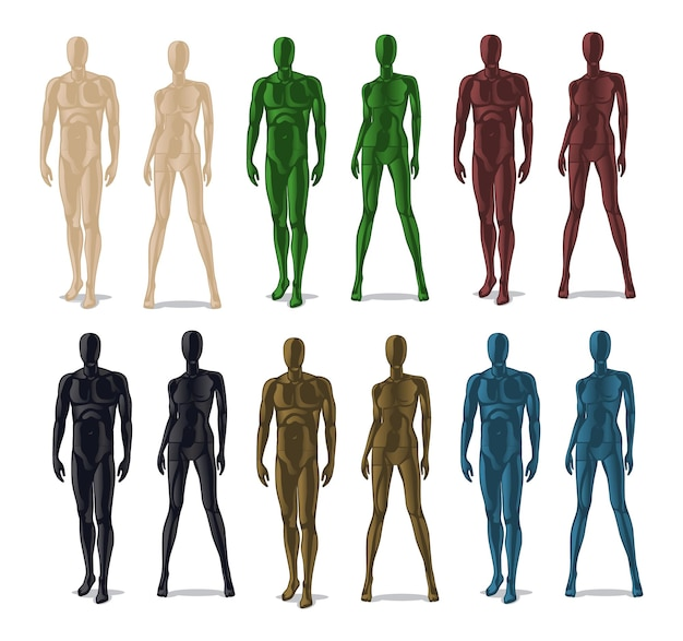 Manekiny plastikowe. modele lalek dla mężczyzn i kobiet na ubrania.