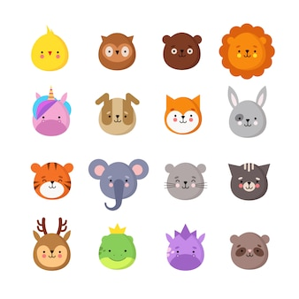 Manga zwierząt uśmiecha się. słodkie kawaii emotikony dla dzieci. jednorożec smok, tygrys słoń, lew i sowa. śmieszne awatary na białym tle zestaw