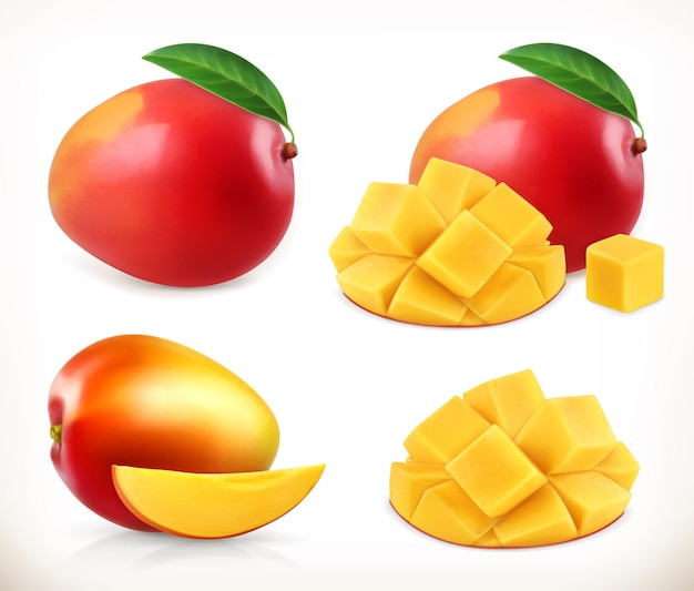 Mango. całość i kawałki. słodki owoc. zestaw ikon. realistyczna ilustracja