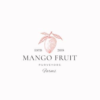 Mango fruit farms streszczenie logo szablon.
