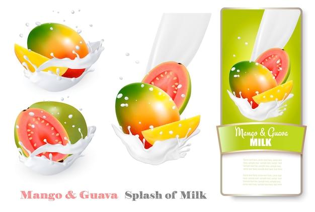 Mango i guawa w plamach mleka. wektor.