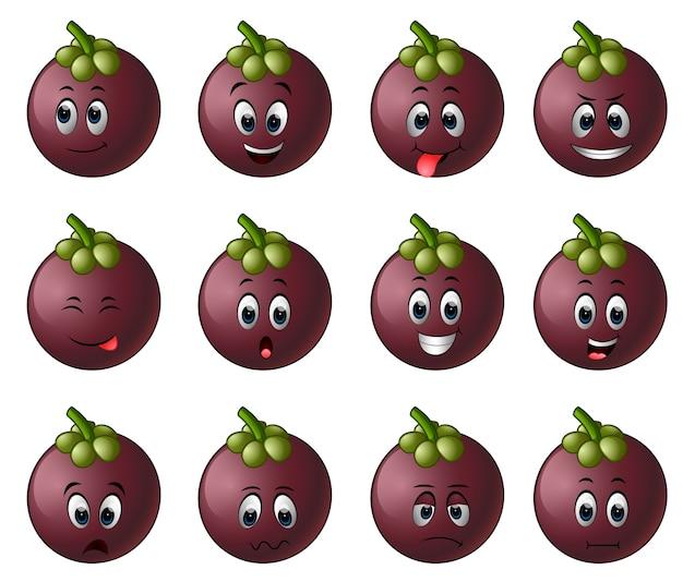 Mangostan z różnymi emotikonami