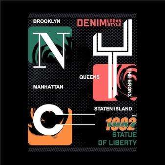 Manhattan bronx nowy jork graficzna ilustracja typografia wektor projekt koszulki