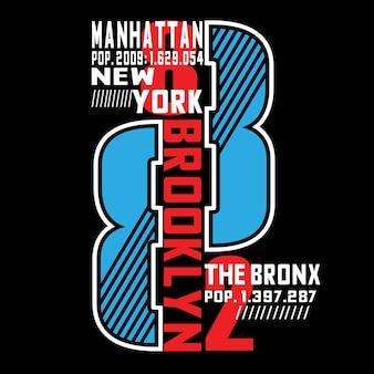 Manhattan typografii t koszula makiety