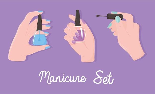 Manicure, kobiece dłonie trzyma polski kolor paznokci, zestaw ilustracji fioletowym tle