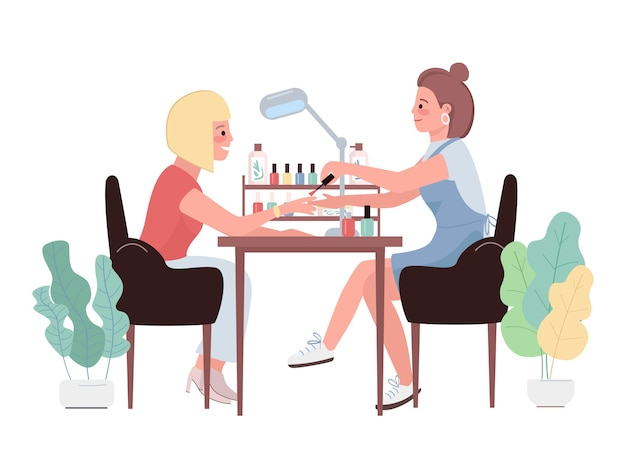 Manicure płaski kolor znaków. kobieta polerowanie paznokci pod ręką. zabieg kosmetyczny dla klientki rasy kaukaskiej. malowanie paznokci. salon piękności ilustracja kreskówka na białym tle