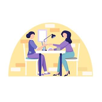 Manicure w salonie kosmetycznym. mistrz nakłada lakier na paznokcie dziewczyny. ilustracja wektorowa