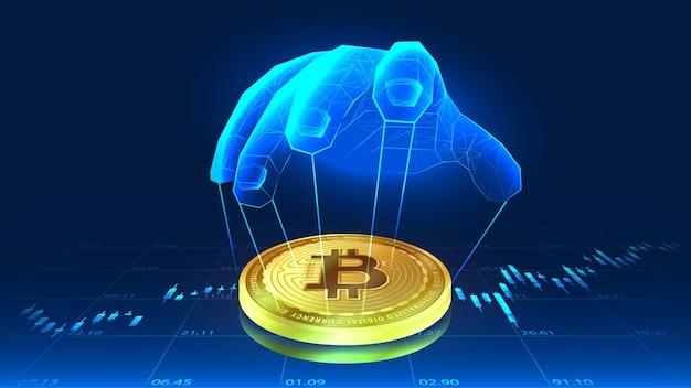 Manipulacja bitcoinem czyjąś ręką w futurystycznej koncepcji z trendami w tle