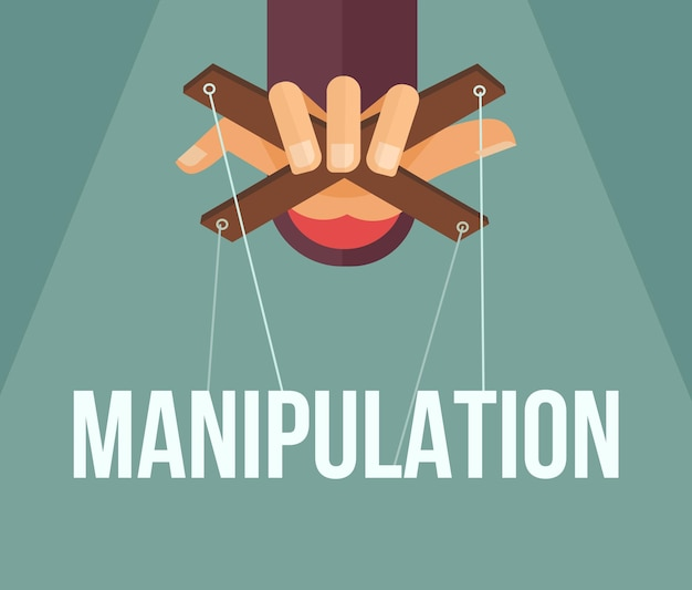 Manipulacja ręką. ilustracja kreskówka płaska
