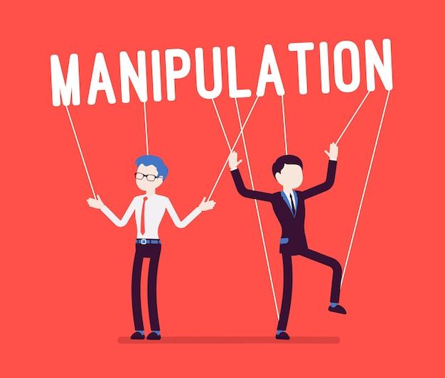 Manipulacje sznurkiem, ludzie lalek na czerwono