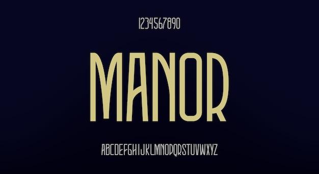 Manor, elegancka wysoka czcionka. nowoczesny krój pisma