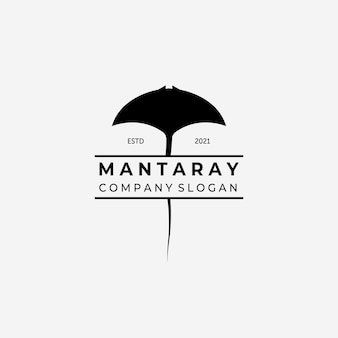 Manta rays logo vector, ilustracja projektu stingray vintage, koncepcja oceanu z rybą
