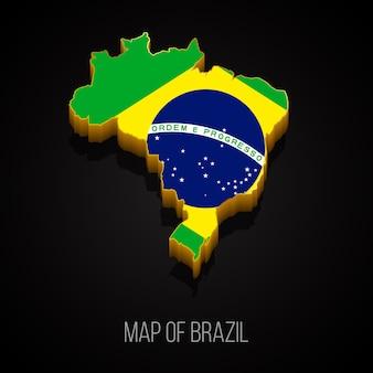 Mapa 3d Brazylii Premium Wektorów