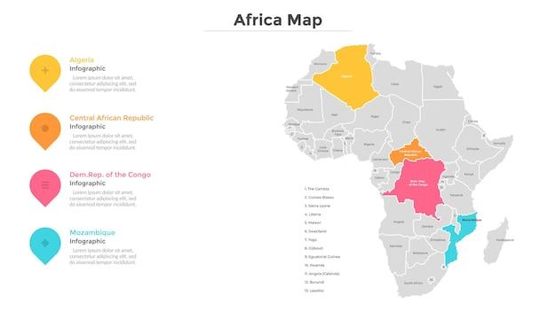 Mapa afryki podzielona na państwa lub kraje o nowoczesnych granicach. wskazanie lokalizacji turystycznej. szablon projektu plansza. ilustracja wektorowa do prezentacji, broszury, strony internetowej.