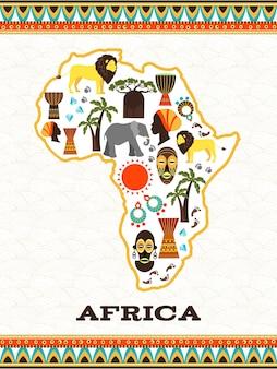 Mapa afryki z afrykańskimi ikonami. kraj i zwierzęta, djembe i folklor narodowy, diament i podróże,