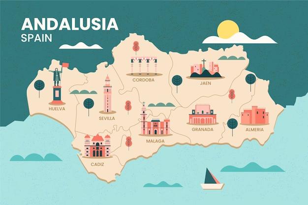 Mapa andaluzji w hiszpanii z punktem orientacyjnym