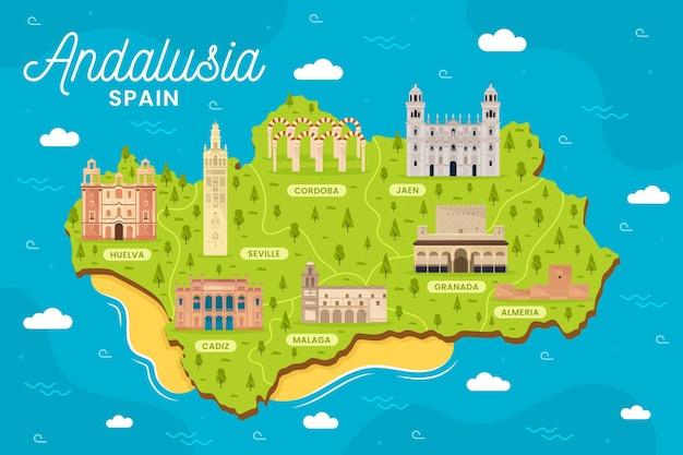 Mapa andaluzji z ilustrowanymi punktami orientacyjnymi