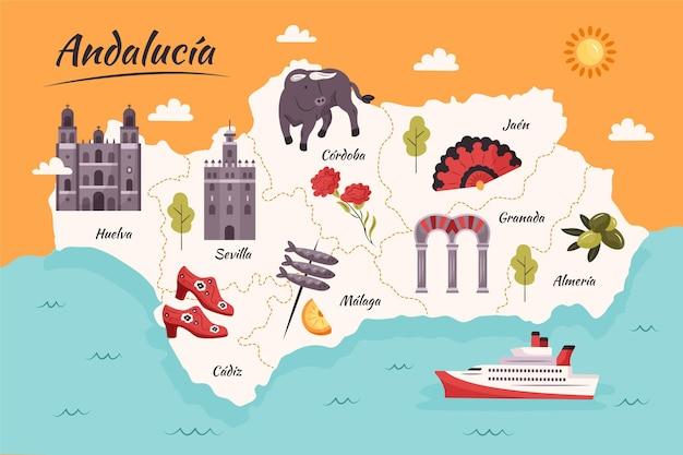 Mapa andaluzji z zabytkami