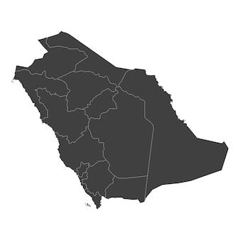 Mapa arabii saudyjskiej z wybranymi regionami w kolorze czarnym na białym tle