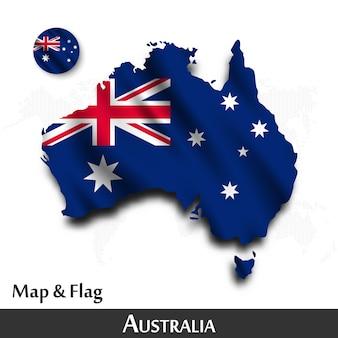 Mapa australii i flaga. machający wzór tkaniny. kropka tło mapy świata.