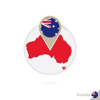 Mapa australii i flaga w koło. mapa australii, pin flaga australii. mapa australii w stylu globu. ilustracja wektorowa.