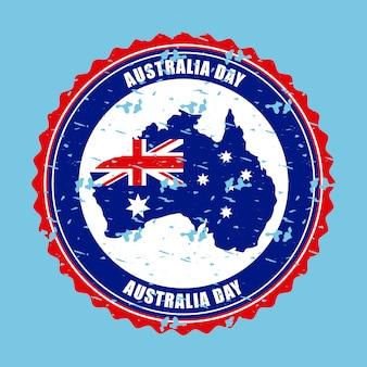 Mapa australii z flagą na etykiecie