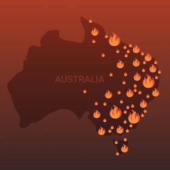 Mapa australii z symbolami ognia pożary buszu sezonowe pożary globalne ocieplenie katastrofa naturalna koncepcja pomarańczowy płomienie ikony płaskie
