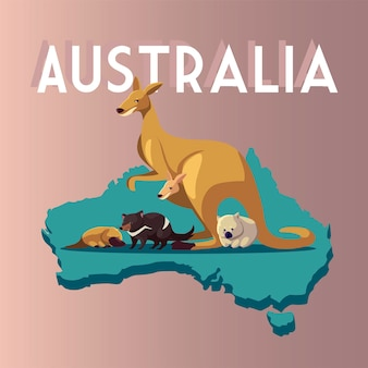 Mapa Australii Zwierzęta śmieszne Ilustracja Kreskówka Przyrody Premium Wektorów