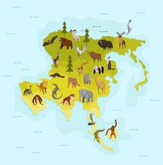 Mapa azji z innym zwierzęciem. zabawny baner z kreskówek dla dzieci z kontynentem