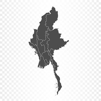 Mapa birmy na przezroczystym tle