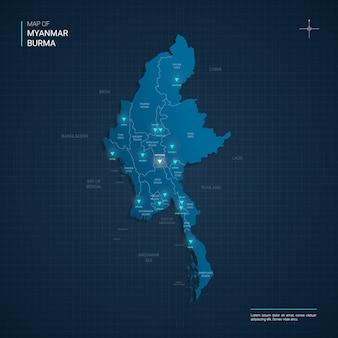 Mapa birmy z niebieskimi punktami światła neonowego