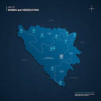 Mapa bośni z niebieskimi punktami światła neonowego