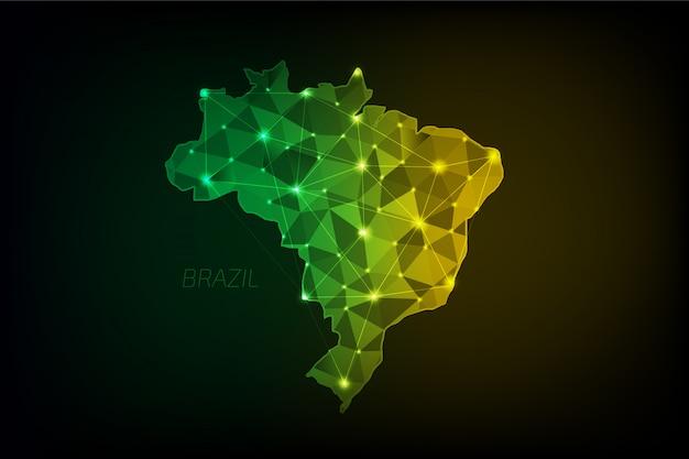 Mapa brazylii wielokątna ze świecącymi światłami i linią