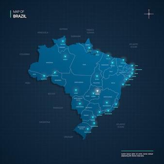 Mapa brazylii z niebieskimi punktami światła neonowego