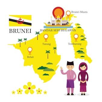 Mapa brunei i punkty orientacyjne z ludźmi w tradycyjnych strojach