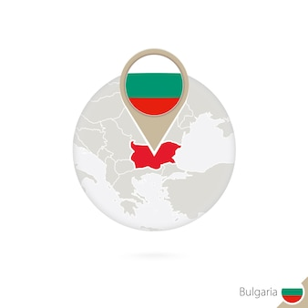 Mapa bułgarii i flaga w koło. mapa bułgarii, przypięcie flagi bułgarii. mapa bułgarii w stylu świata. ilustracja wektorowa.