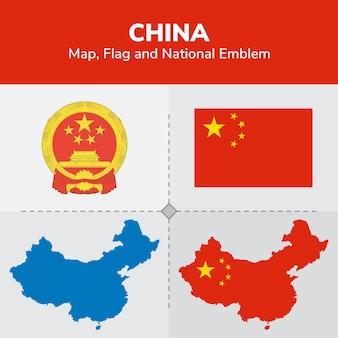 Mapa chin, flaga i godło państwowe