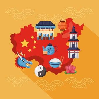 Mapa chin i zestaw ikon