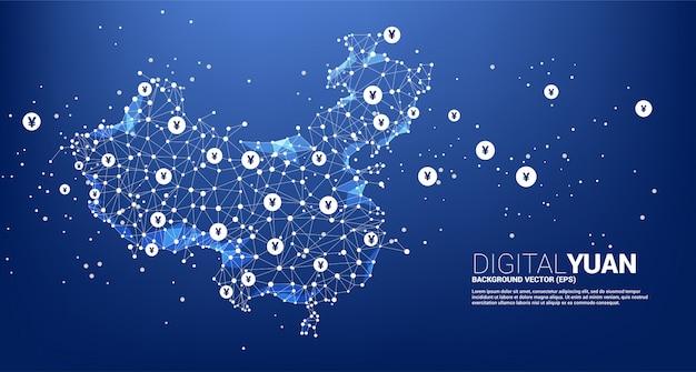 Mapa chin z wielokąta kropka łączy linię z cyfrowym juanem. koncepcja połączenia cyfrowej sieci finansowej z chin.